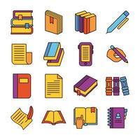 paquete de dieciséis libros, literatura, conjunto, colección, iconos vector