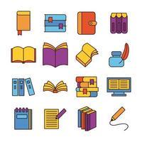 paquete de dieciséis libros, literatura, conjunto, iconos vector