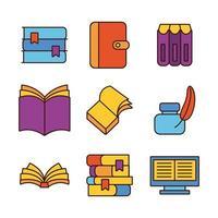 paquete de nueve libros literatura set iconos vector