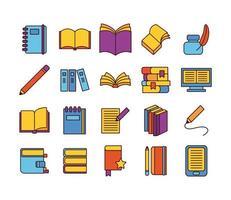 paquete de veinte libros literatura conjunto de iconos de colección vector
