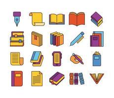 paquete de veinte libros literatura set iconos vector