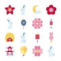 paquete de dieciséis iconos de conjunto de mediados de otoño vector