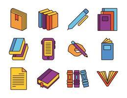 paquete de doce libros literatura set iconos vector