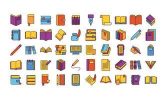 paquete de cincuenta libros, literatura, conjunto, iconos vector