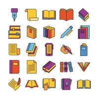 paquete de veinticinco libros literatura conjunto de iconos de colección vector