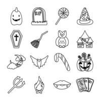 bundle of sixteen halloween set icons vector