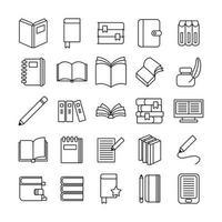 paquete de veinticinco libros, literatura, conjunto, iconos vector