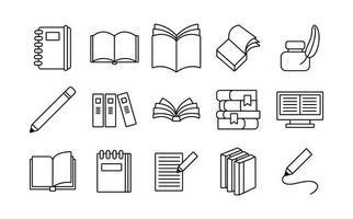 paquete de quince libros literatura set iconos vector