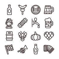 bundle of sixteen oktoberfest set icons vector