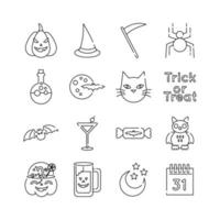 bundle of sixteen halloween set collection icons vector