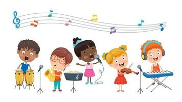 Funny Little Kids Performing Music vector