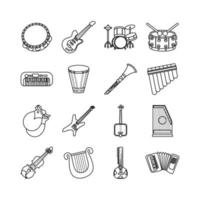 bundle of sixteen musical instruments set icons vector