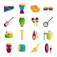 bundle of sixteen musical instruments set collection icons vector
