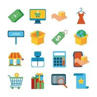 bundle of sixteen shopping set icons vector