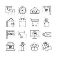 bundle of sixteen shopping set collection icons vector