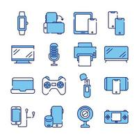 bundle of sixteen devices electronics set collection icons vector