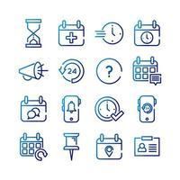 bundle of sixteen calendars set icons vector