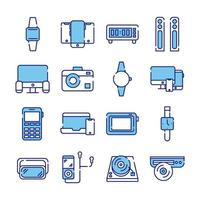 bundle of sixteen devices electronics set icons vector