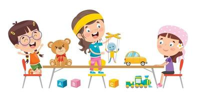 Little Children Playing With Toys vector