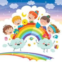 Concept Design With Funny Children vector