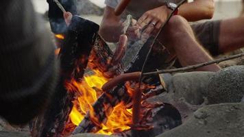 gros plan de hot-dogs rôtissant dans un feu de camp de plage video