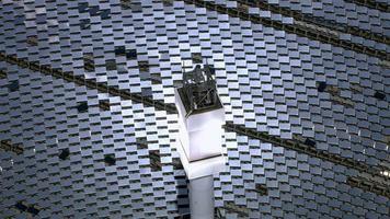 Aerial shot of solar mirrors at power plant, California video