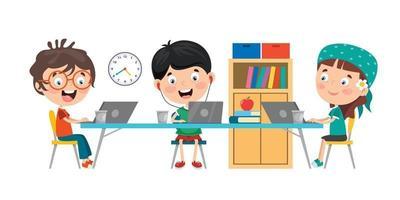 Little Children Studying In Classroom vector