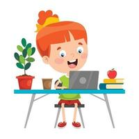 Little Child Studying In Classroom vector