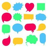 16 burbujas de discurso diseño de estilo plano otras formas sin textos estilo de dibujos animados cómicos dibujados a mano conjunto ilustración vectorial aislado sobre fondo blanco formas de rectángulo de corazón cuadrado de nube redonda, etc. vector