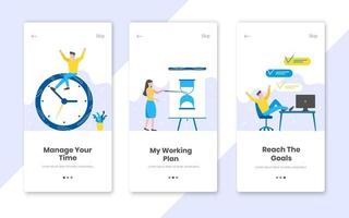 3 vertical time management banners set with work time planning flat style design vector illustration