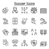 Soccer icon set in thin line style vector