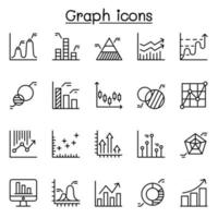Graph chart diagram icon set in thin line style vector