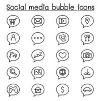 Social media bubble icon set in thin line style vector