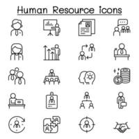 Human resource management icon set in thin line style vector