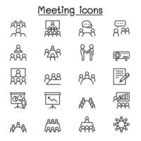 Meeting icon set in thin line style vector