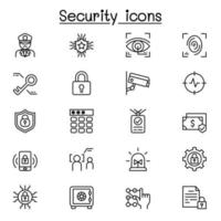 Security icons set in thin line style vector