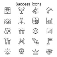 Success icon set in thin line style vector