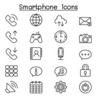 Smart phone icon set in thin line styleh vector
