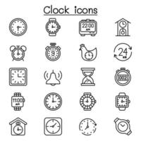 clock icon set in thin line style vector