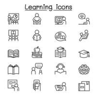 Learning and Education icon set in thin line style vector