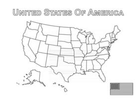 Vector of USA map and american flag  Outline style