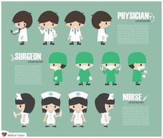 vector de personaje de dibujos animados médico cirujano y enfermera
