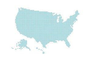 Dotted style map of USA and white background vector