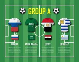 equipo de fútbol de la copa 2018 grupo a jugadores de fútbol con uniforme de camiseta y vector de banderas nacionales para el torneo del campeonato mundial internacional