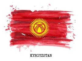 Watercolor painting flag of Kyrgyzstan  Vector