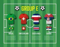 copa de fútbol 2018 equipo grupo e jugadores de fútbol con uniforme de camiseta y vector de banderas nacionales para el torneo del campeonato mundial internacional
