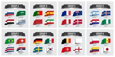 Copa de fútbol 2018 conjunto de banderas nacionales equipo grupo a ah vector de diseño de nota adhesiva para el torneo del campeonato mundial internacional