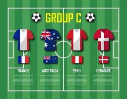 copa de fútbol 2018 equipo grupo c jugadores de fútbol con uniforme de camiseta y vector de banderas nacionales para el torneo del campeonato mundial internacional