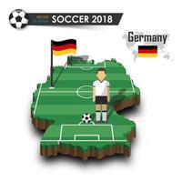 Jugador de fútbol del equipo nacional de fútbol de Alemania y la bandera en el mapa del país de diseño 3d vector de fondo aislado para el concepto del torneo del campeonato mundial internacional 2018