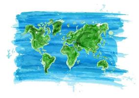 Watercolor painting style of world map  Ecological concept   Vector
